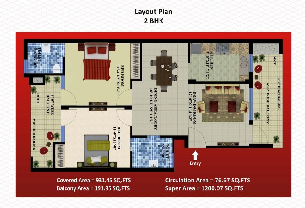2BHK layout