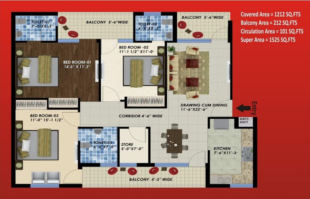 3 BHK Layout Plan
