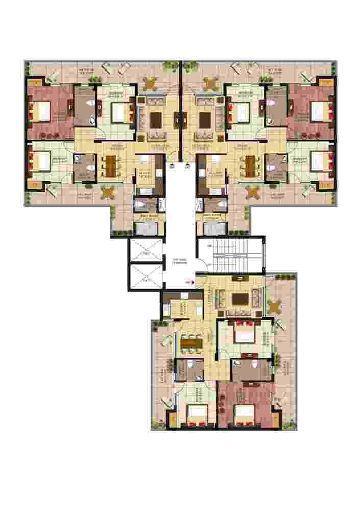 Floor-Plan-3 BHK+SERVANT-ROOM-Palm-Village