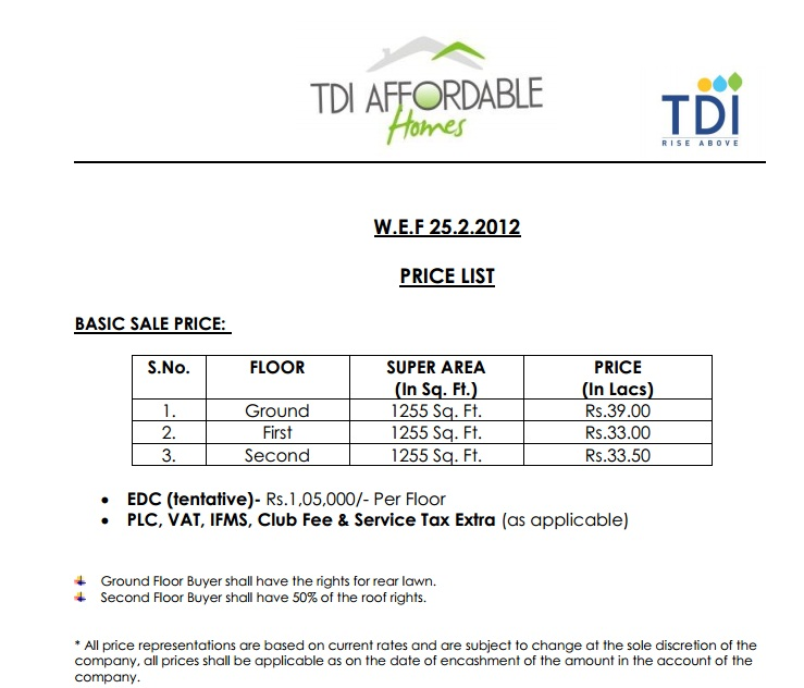 Affordable-Homes-TDI-City-Price-List