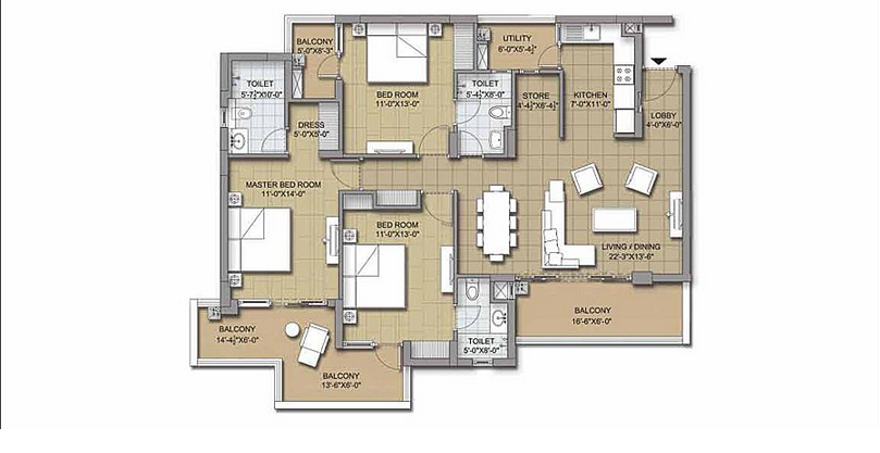 3 bhk unit plan 3