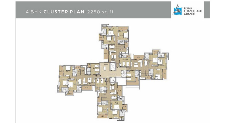 4 bhk cluster plan 6    2250 sqft