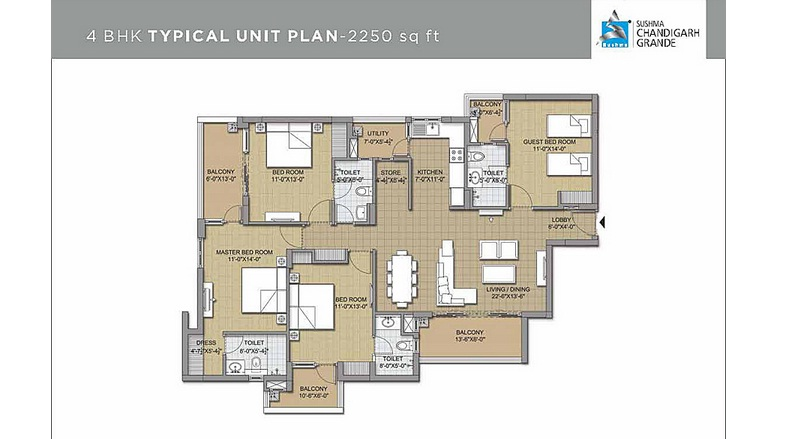 4 bhk  unit plan 7    2250 sqft.