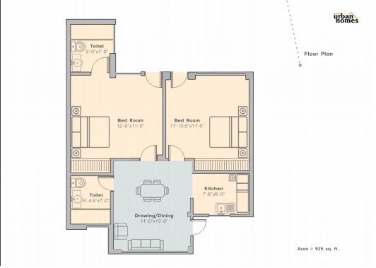 layout of 2 bhk flat sunny urban home kharar