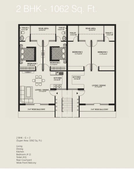 floor plan 2 bhk 1062 sq.ft