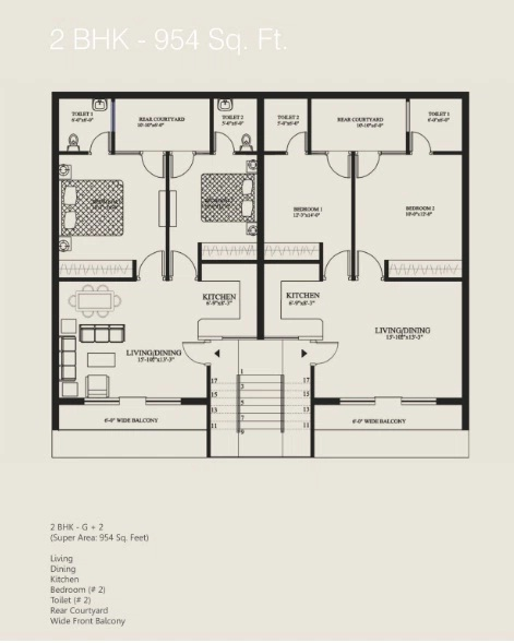 floor plan 2 bhk 954 sq.ft