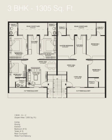 floor plan 3bhk 1305 sq.ft